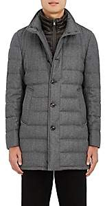 Moncler Men's Down-Quilted Wool Twill Coat - Gray