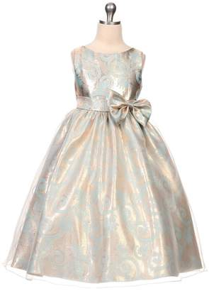 Kids Dream Victoria- Organza Overlay Jacquard Dress Blue