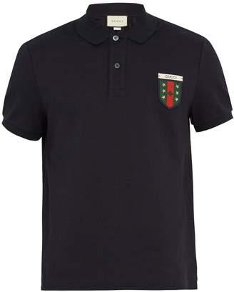Gucci Crest-appliqué stretch-cotton polo shirt