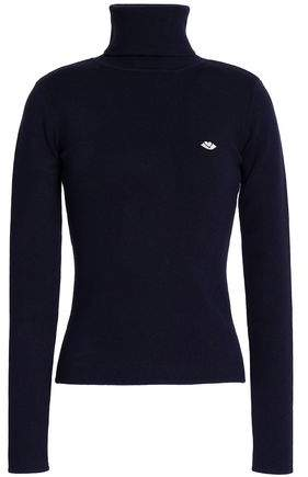 Embroidered Cotton-Blend Turtleneck Sweater