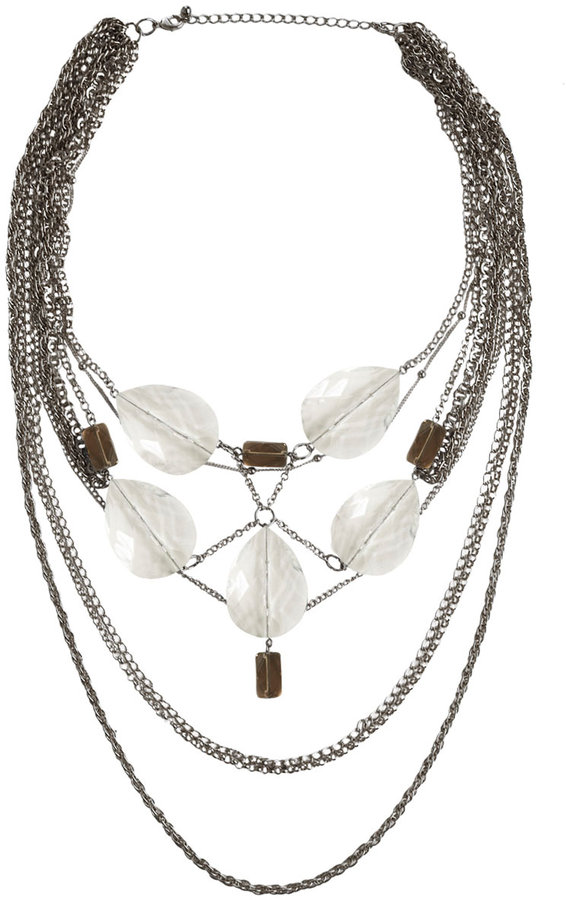 Chain and Lucite Stone Bib Necklace