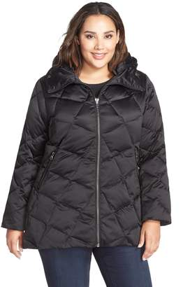Kristen Blake Hooded Diamond Quilted A-Line Down Coat