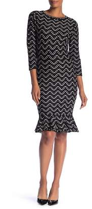 Sandra Darren 3\u002F4 Sleeve Print Knit Dress