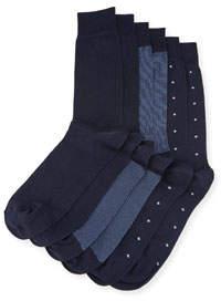 Neiman Marcus Three-Pair Wardrobe Socks, Navy