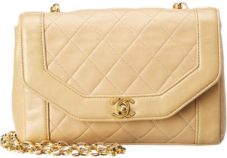 Chanel Beige Quilted Lambskin Leather Angled Classic Bag