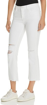 J Brand Selena Mid Rise Crop Boot Jeans in White Mercy $188 thestylecure.com