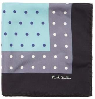 Paul Smith Polka Dot Print Silk Pocket Square - Mens - Blue Multi