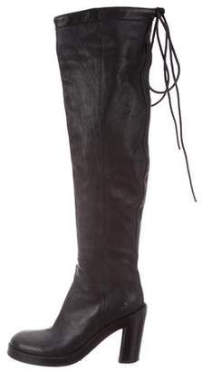 Ann Demeulemeester Round-Toe Leather Over-The-Knee Boots