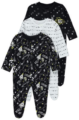 George Black Space Sleepsuits 3 Pack