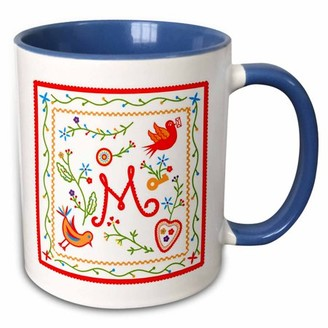 3dRose Letter M Monogram and design inpired by embroidered Portuguese Love Handkerchiefs - Two Tone Blue Mug, 11-ounce