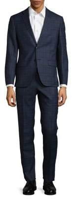 Black & Brown Black Brown Plaid Suit Jacket