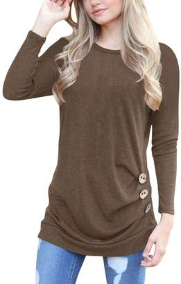 Amstt Women's Side Button Long Sleeve Scoop Neck Casual Long Tunic Top Blouse