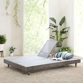 west elm Portside Outdoor Textilene Chaise Double Lounger - Weathered Gray