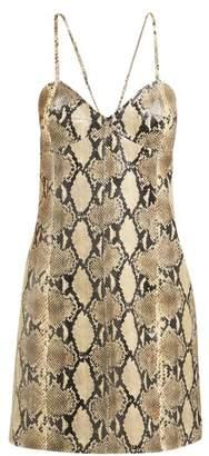 Gucci Snake Effect Leather Mini Slip Dress - Womens - Beige Print