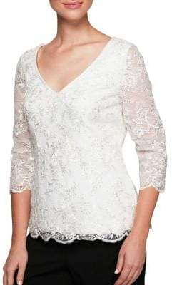 Alex Evenings Embroidered Sequin Blouse