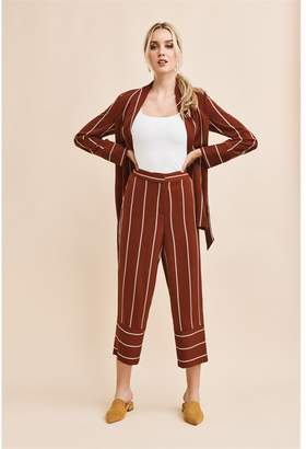 Dynamite Karlie High Rise Pant With Cuff - Detail- FINAL SALE BURNT RED/WHITE STRIPE