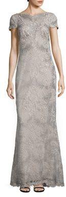 Tadashi Shoji Short Sleeve A-Line Lace Gown $548 thestylecure.com