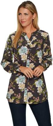Denim & Co. Petite Floral Printed Button Front Blouse