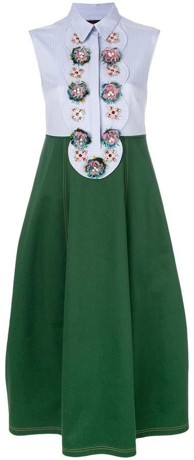 embellished two tone dress