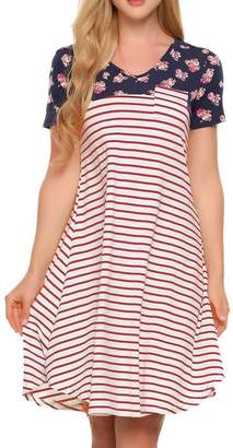 Zeagoo Women Long Sleeve Striped Floral Print Pocket Casual Swing Tunic T Shirt Dress