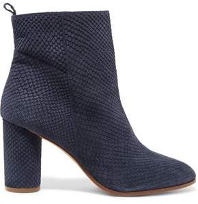 Maje Felix Snake-Effect Suede Ankle Boots