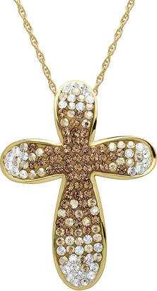 JCPenney FINE JEWELRY 14K Gold Over Silver Fade Crystal Cross Pendant Necklace