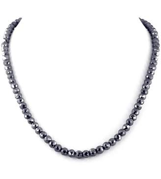 Black Diamond skyjewels 6mm Certified Beads Necklace with 18K Gold Clasp.120 cts