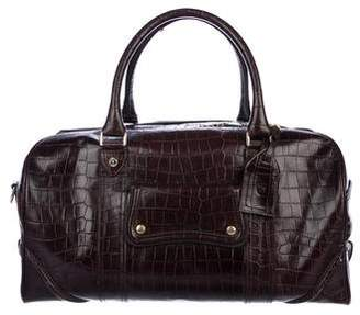 Aspinal of London Embossed Leather Duffle Bag