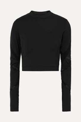 Alo Yoga Cropped Cutout Stretch-jersey Top - Black