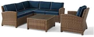 Crosley Bradenton 5-Piece Outdoor Wicker Seating Set With Navy Cushions