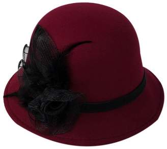 b5a8206ea15 Gentle Meow Women Vintage Wool Fedora Bowler Hat Wide Brim Hat With Feather  Flower