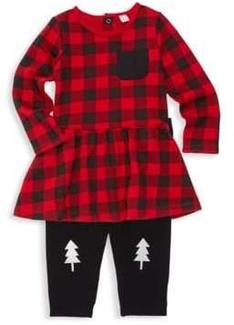 Petit Lem Baby Girl's Two-Piece Holiday Buffalo Check Dress & Leggings Set