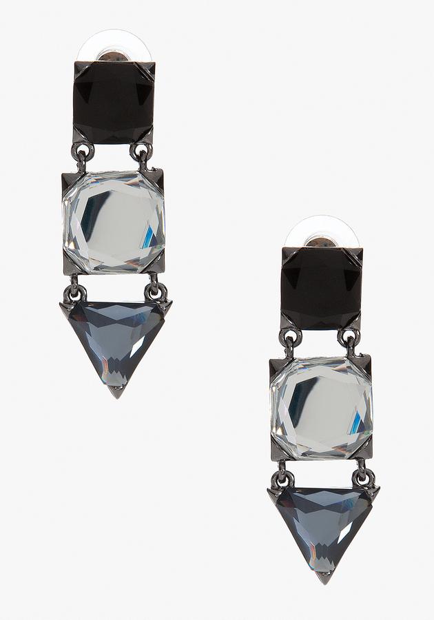 Bebe Geometric Stone Drop Earring
