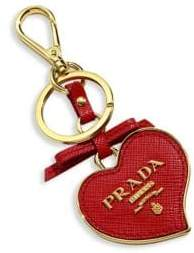 Prada Saffiano Leather Heart Keychain