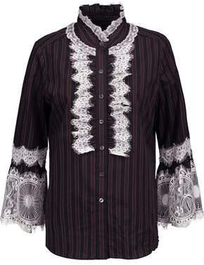 Anna Sui Lace-Trimmed Striped Cotton-Poplin Shirt