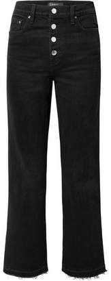 Amiri Frayed Lurex-trimmed High-rise Straight-leg Jeans - Black