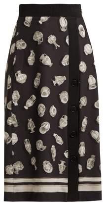 Altuzarra Banksia Printed Front Slit Crepe Skirt - Womens - Black Multi