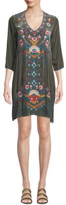 Johnny Was Delphine Embroidered Velvet Tunic Dress