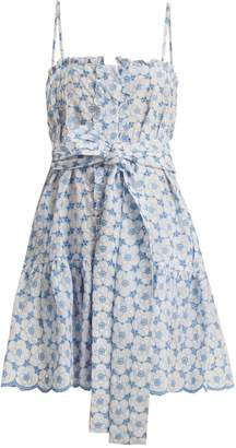 Lisa Marie Fernandez Floral-embroidered cotton slip dress