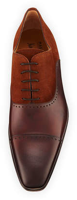 Magnanni Hand-Antiqued Mixed Calf Oxford, Brown