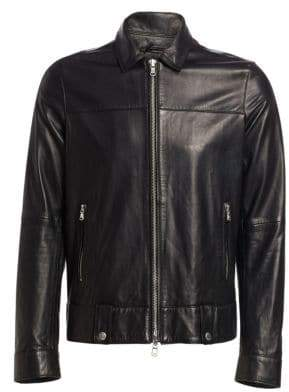 John Varvatos Marley Leather Zip-Front Jacket