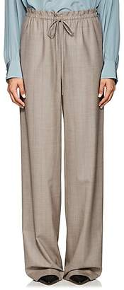 The Row Women's JR Pinstriped Wool Wide-Leg Pants - Taupe Grey