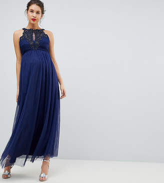 Little Mistress Maternity Applique High Neck Maxi Dress