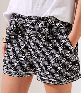 LOFT Flamingo Tie Waist Fluid Shorts