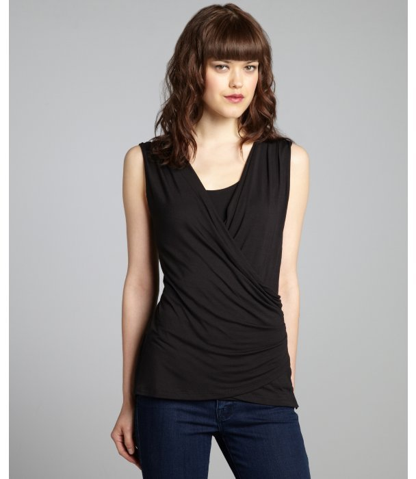Tahari black stretch modal 'Sisily' sleeveless faux wrap top
