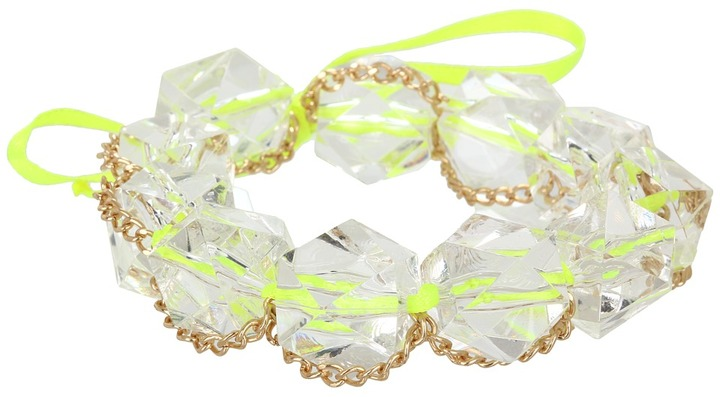 GUESS Ribbon Bracelet with Lucite Stones and Chains (Clear and Lime) - Jewelry