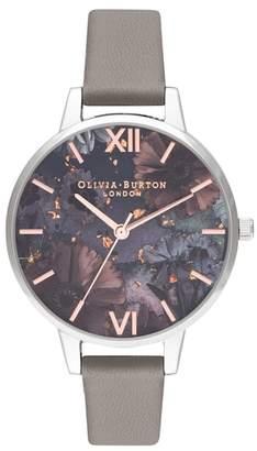 Olivia Burton Celestial Leather Strap Watch, 34mm