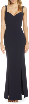 Eliza J Slit Flared Body-Con Crepe Gown