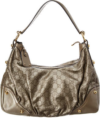Gucci Grey Guccissima Leather Jockey Hobo Bag