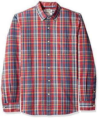 Goodthreads Men's Slim-Fit Long-Sleeve Pattern Chambray Shirt, -red denim plaid, XX-Large
